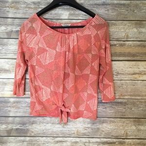 Lucky Brand Coral 3/4 Sleeve Top